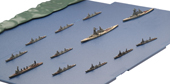 1/3000 軍艦15 ガダルカナル島砲撃挺身隊セット(金剛/榛名/五十鈴/彩色済み上空直衛機付き)